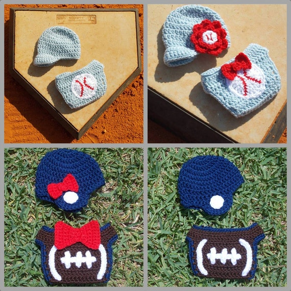 Free Crochet Pattern Football Diaper Cover : Baby Sports Hats & Diaper Cover Patterns ... Boy and Girl ...
