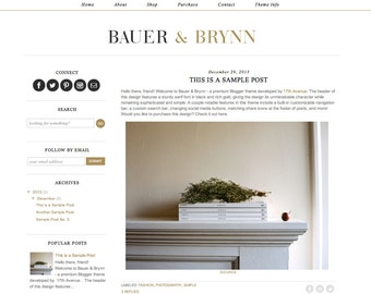 "Blogger Template Premade Blog Theme Design ""Bauer & Brynn"""