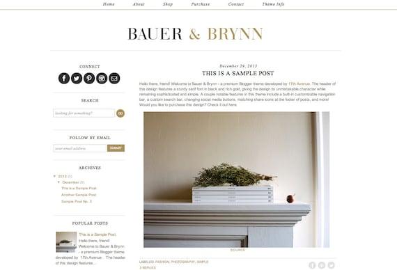 "Blogger Template Premade Blog Theme Design ""Bauer & Brynn"""