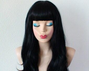 Black wig. Long black hair wig. Straight across bangs wig. Long black hair wig.
