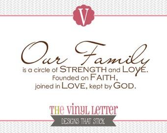 Our Family Circle of Strength Love Faith God Religious Vinyl Wall Decal Home Decor Sticker