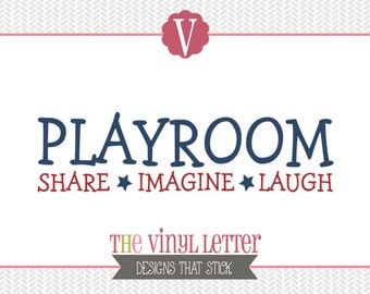Playroom Share Imagine Laugh Play Stars Kids Vinyl Wall Decal Home Decor Sticker