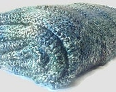 Checkerboard Knitted Throw in Green, Teal and Gray