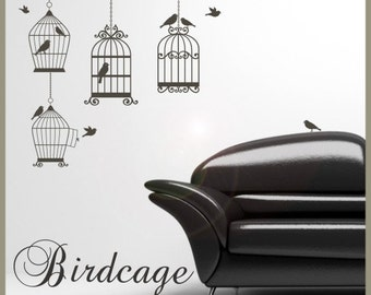 Birds and bird cages vinyl wall decals
