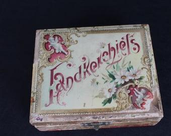 Vintage Victorian Celluloid Handkerchief Box Pink Satin Lining