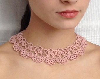 Rose, pink tatted necklace - choker - tatted jewellery