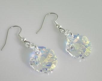 Seashell earrings, Sea Scallop Shell Swarovski Aurora Borealis earrings, Clear Iridescent Crystal, Surgical Steel Hooks, Hypoallergenic