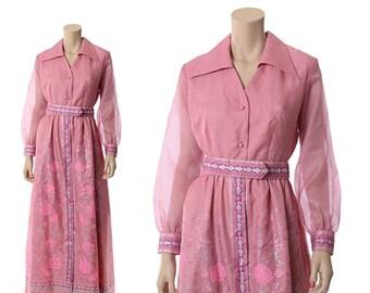 Vintage 70s Alfred Shaheen Hawaiian Maxi Dress 1970s Pink Orchid Floral Asian Caftan Sheer Sleeve Gypsy Boho Festival Wedding Dress / Medium