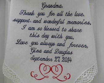 Gracious Grandmother Wedding Handkerchief. Thoughtful Gift on such a memorable Day in your life. Makes a great Wedding Gift. Free gift Box.