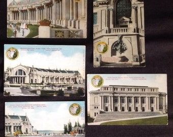 5 antique postcards Alaska Yukon Pacific Exposition (AYPE) Seattle Washington 1909 set lot