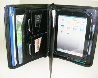 iPad 4 Portfolio Case with Notepad Full Grain Black Leather Apple iPad 3 zip Around Case and for Apple iPad air Carrying Black Briefcase