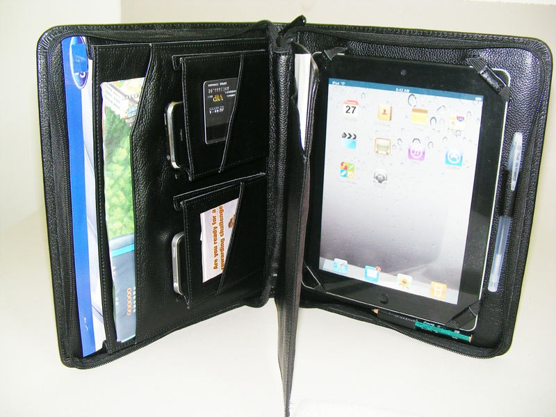 Ipad 4 Portfolio Case With Notepad Full Grain Black Leather