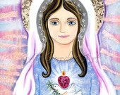 """8"""" by 10"""" Wood Block Mounted  Print of Mixed Media Painting of the Blessed Mother//Catholic Saint Icon of Our Lady"""