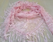 Triangle Scarf Pink Lace Scarf Floral Scarf with Fringe Fashion Scarf