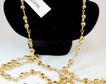 Anne Klein Golden Bead Chain Necklace Vintage Jewelry