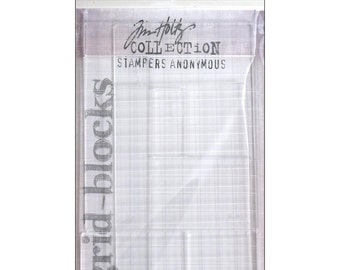 Acrylic Grid Stamp Block Set - 9 Pieces by Tim Holtz
