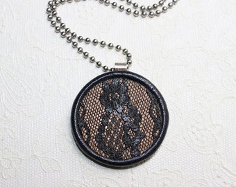 Black Leather and Lace Pendant with Molded Leather Bezel and .999 Fine Silver Bail Necklace with Chain