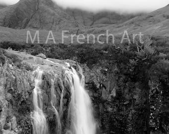 Mists of Cuilin Waterfall, Isle of Skye Scotland, 11.7x16.5in Photo Print -  Mounted 16x20in