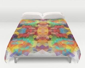 Duvet, Duvet Cover, King Size, Bed cover, King Duvet, Queen Duvet, Art Duvet, Colorful, Red, Yellow, Flower, Polygon, Geometric, Pattern