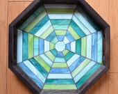 Handmade Glass Mosaic Octagonal Serving Tray With Handles