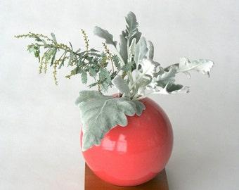 pink ceramic vase, ceramic and wood vase,Ceramic Vase,Flower Vase,Bud Vase,Pottery Vase,Modern,Mother's Days Gift, Wedding Gift, small vase
