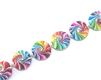 Swirl lentil beads with silver, Polymer Clay beads in rainbow colors, 6 colorful focal beads for Craft Supplies