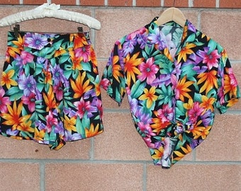 flower print  high waisted shorts set
