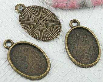 28pcs antiqued bronze tone 24x15mm cabochon settings EF0727
