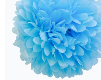 Set of 3 Light Blue Tissue Pom Pom, Baby Blue Tissue Paper Pom Poms 14""