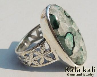 Malachite Azurite Quartz Ring Engraved Silver Ring Size 8 3/4 US