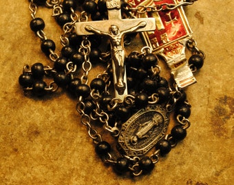 rosary with tag antique BLACK GLASS  Rosary De ROMA sterling with Rhodium  antique  20 inches with 5  inch extension number 54