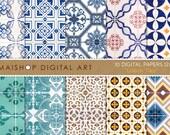 Digital Paper - Lisbon Tiles - Printable Digital Sheets Portuguese Tiles Azulejos for Scrapbooking, Papercraft, Decoupage, Cards, Invites...