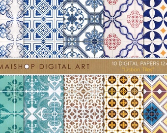Digital Paper - Lisbon Tiles - Printable Digital Sheets Portuguese Tiles Azulejos for Scrapbooking, Papercraft, Decoupage, Cards, Invites...
