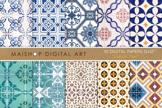 Digital Paper - Lisbon Tiles - Digital Sheets Portuguese Tiles Azulejos 12x12 inches