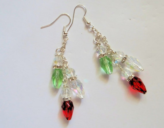 Crystal christmas bulb earrings glass dangle by jwboutique
