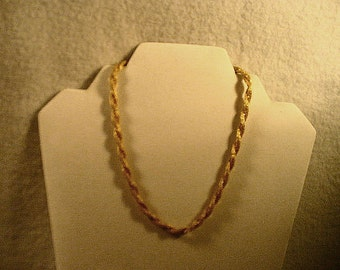Vintage Sarah Coventry Twisted Gold Mesh 17 Inch Necklace