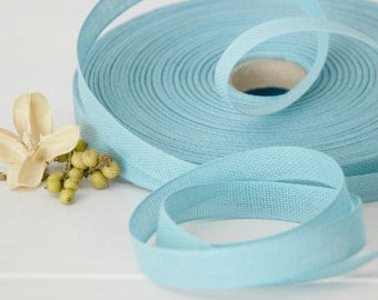 "Aqua Cotton Ribbon - 3 or 6 Yards of 100% Cotton Ribbon -  1/2"" wide - Pastel Aqua Ribbon - Soft Aqua Color Ribbon - Eco Friendly Ribbons"