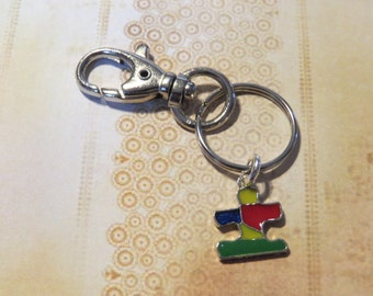 Autism Awareness Keychain  Colored Autism Puzzle Piece  Purse Jewelry Backpack clip on Autism Awareness purse jewelry Enameled Metal charm