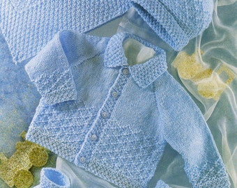 baby knitting pattern for  vintage baby boys jacket hy booties  dk wool