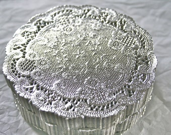 """Metallic SILVER 6"""" Doilies, French Lace, Vintage Style"""