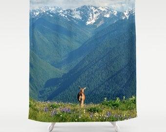 Fabric Shower Curtain   Natureu0027s Calling   Deer, Mountains, Meadow,  Wildflowers, Wilderness