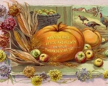 Thanksgiving Fabric Block - Peace and Plenty - Turkey and Pumpkin Fabric