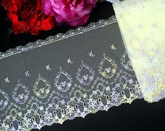 """DN580- 8"""" Yellow Embroidered Tulle flower Mesh Lace Trim by Yard"""