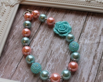 Pink, Aqua Chunky Beaded Necklace, Children's Necklace, Baby Necklace, Beaded Gumball Necklace, Girls, Photo Prop, Birthday