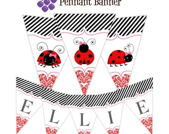 Ladybug Pennant Banner - Red Damask, Black Stripes, with Cute Little Ladybugs Personalized Birthday Party Banner - A Digital Printable File