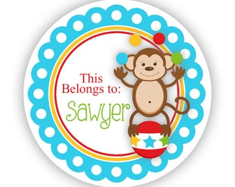 Personalized Name Label Stickers - Aqua Blue Carnival Circus Animal, Monkey Name Label Tag Stickers - Round Tags - Back to School Name Tags