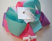 Girl's, Toddler's Pre-School, Kindergarten, Pre-K Graduation Cap and Diploma Large Twisted Boutique Bow in Aqua, Hot Pink, Lavender Ribbons