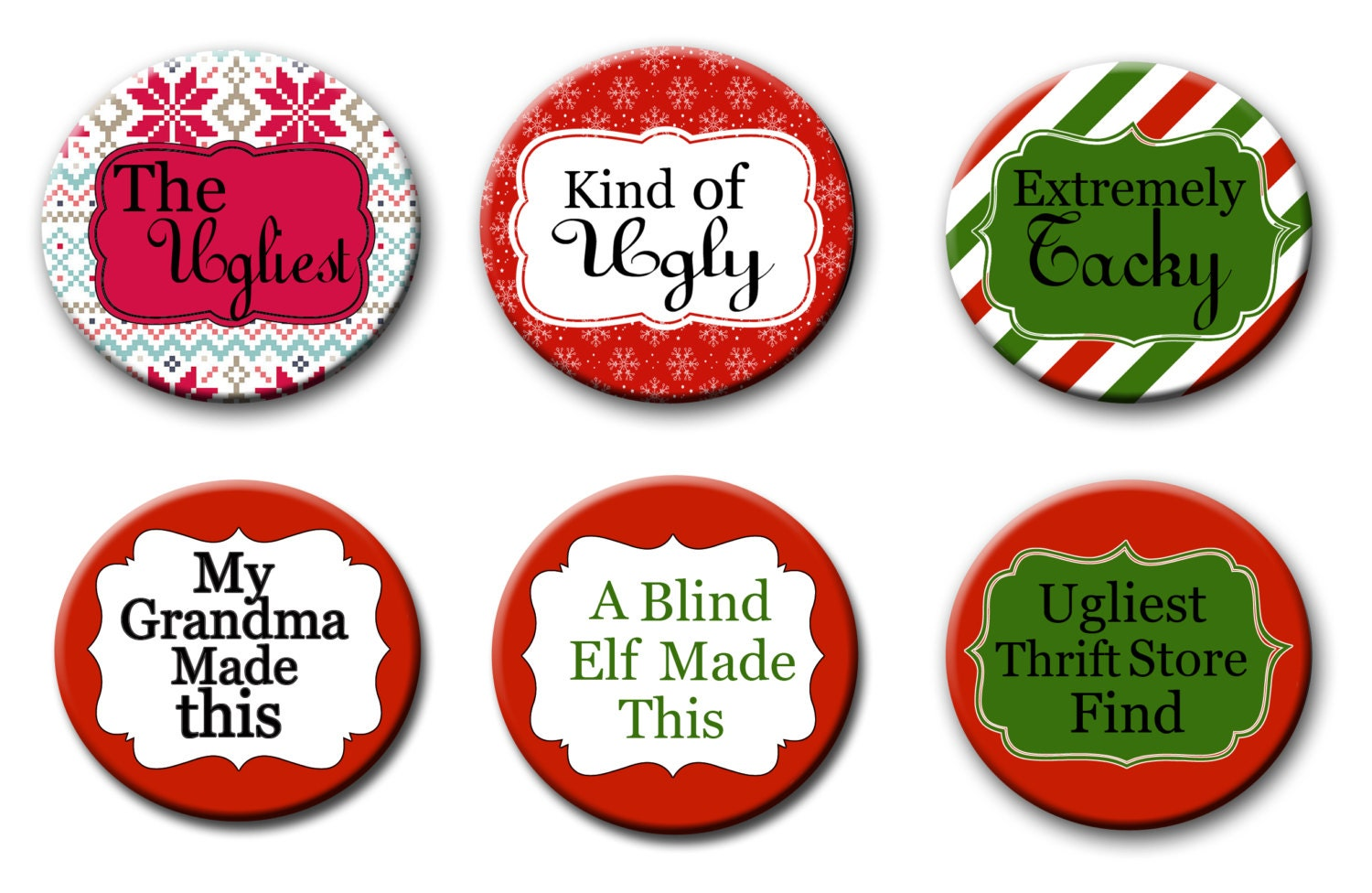 Charming Christmas Party Award Ideas Part - 11: Ugly Christmas Sweater Party Award 2.25 Inch Pinback Buttons Pins Badges Christmas  Party Favors