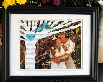 Unique First Anniversary Gift with Song Lyrics or Vows on Tree with YOUR PICTURE - 10x13 Frame Optional