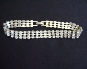 Silver tone Bracelet with Rhinestones